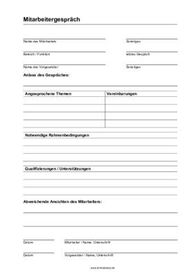 dokumentation mitarbeitergespraech vorlage muster zum
