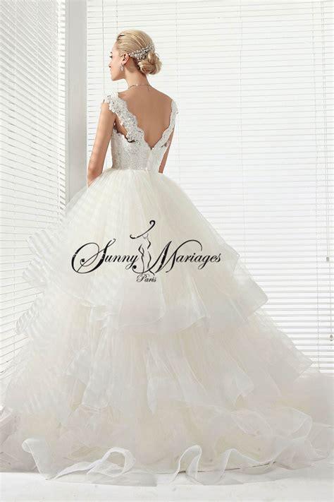 robe de mariee bustier dentelle perlee  jupe princesse