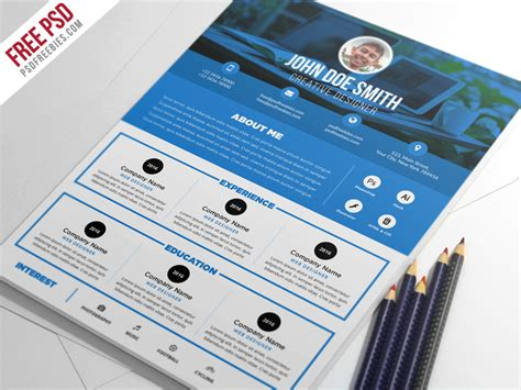 free psd clean and designer resume cv template psd by