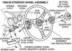 1958-62 Steering Wheel Assembly - Diagram View
