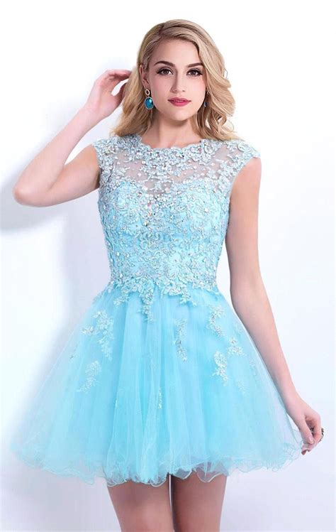 hot sale cap sleeve blue beaded lace short homecoming