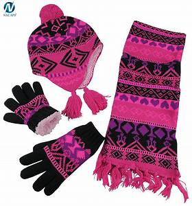 Scarf Hat Glove Setswholesale Knitted Scarf Beanie And