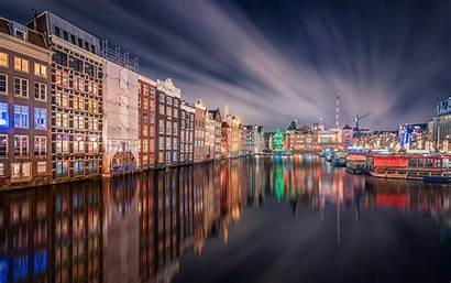 Amsterdam Night Station Grand Central Houses Reflection