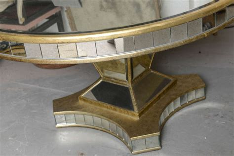 round mirrored dining room table superb mirrored pedestal round top table at 1stdibs