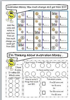 australian money worksheets year 3 4 by jbee educational