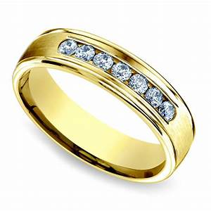 channel diamond men39s wedding ring in yellow gold 6mm With mens wedding ring styles