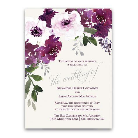 burgundy plum floral watercolor wedding invitations