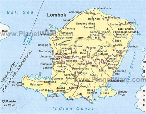 lombok map tourist attractions   lombok