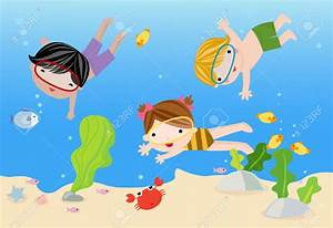 Kids Swimming At Beach Clipart - ClipartXtras