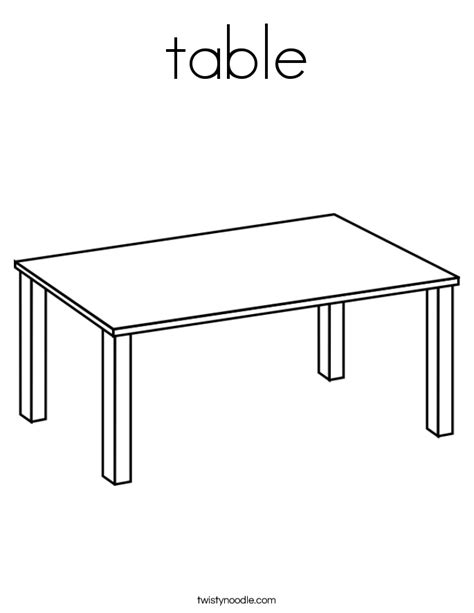 table coloring page twisty noodle