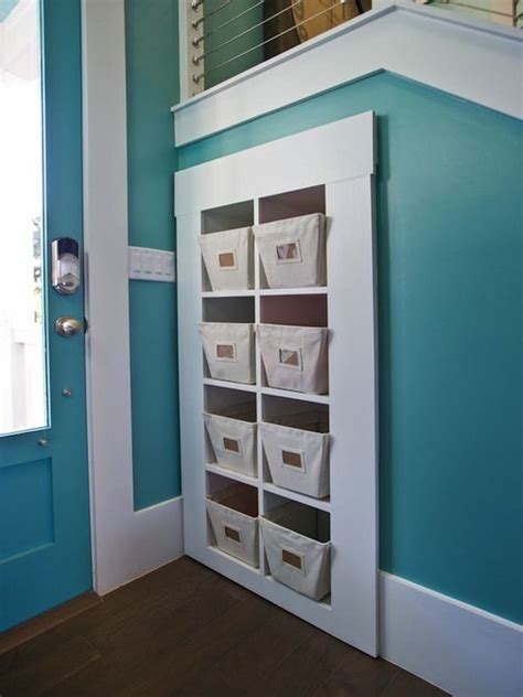 turquoise wall paint contemporary entrance foyer