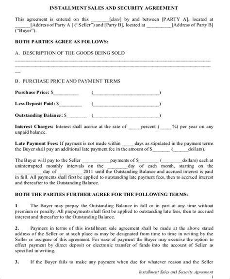 Installment Sale Agreement Template by 12 Sle Installment Sales Contracts Sle Templates