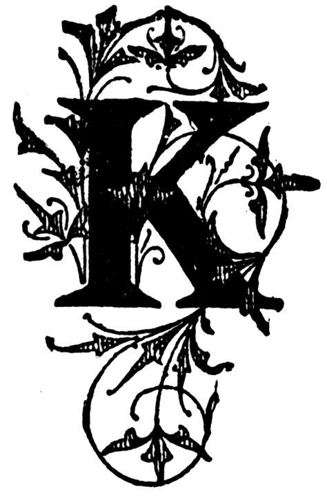 K, Floral initial | ClipArt ETC