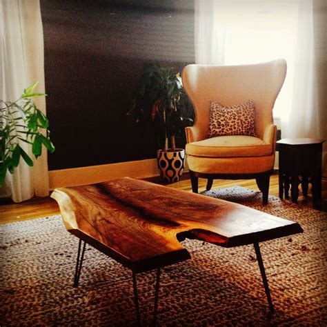 The wood on a diagonal is so creative and different, it looks amazing! Live edge coffee table with hairpin legs by Good Wood ...