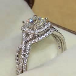 moissanite engagement ring set aliexpress buy charles colvard brand 1 1 carat cushion cut moissanite 14k white gold halo