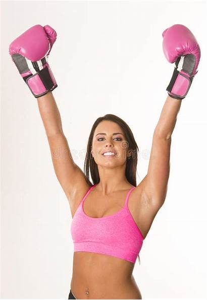 Boxing Gloves Pink Woman Female Boxer Raised