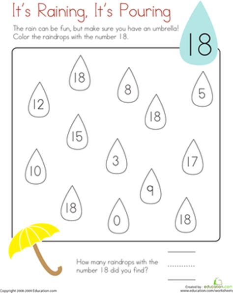 Coloring 18 It's Raining, It's Pouring  Worksheet Educationcom