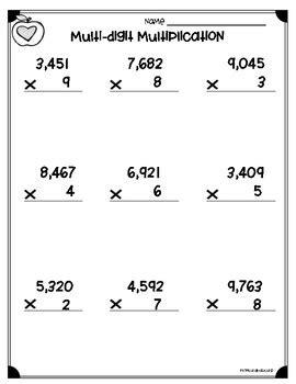multi digits multiplication math worksheet multi digit multiplication worksheets 4 nbt b 5 5 nbt b