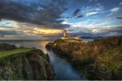 Ireland Sea Donegal County Lighthouse Rocks Wallpaperup