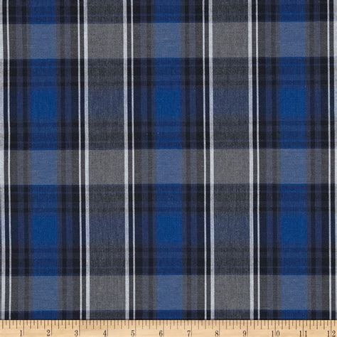 poly cotton plaid blue black white discount designer fabric fabric com