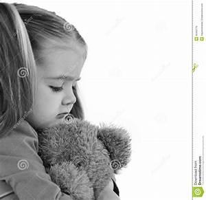 Sad Little Child Holding Teddy Bear Stock Photo - Image ...
