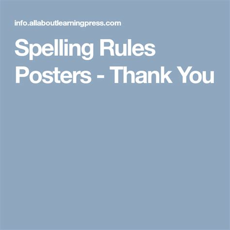 spelling rules posters    images