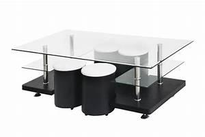 Table Basse 4 Poufs : table basse savanah noir 4 poufs table basse topkoo ~ Teatrodelosmanantiales.com Idées de Décoration