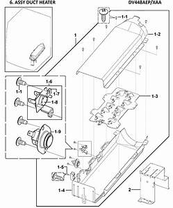 Samsung Dv448aep  Xaa Heater Duct Assembly  2 Wire
