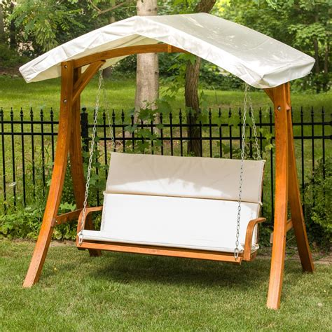 Patio Swing by Leisure Season Wooden Patio Swing Seater With Canopy