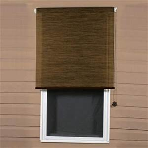 Coolaroo sandalwood exterior roller shade 92 uv block for Outdoor window shades
