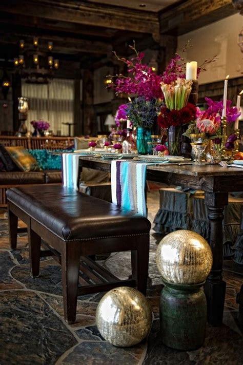 rich  elegant dining space  bohemian details