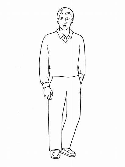 Standing Father Drawing Illustration Sketch Coloring Lds