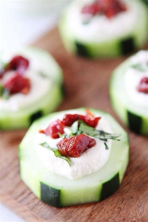 canape appetizer cucumber canapés with feta sun dried tomatoes and
