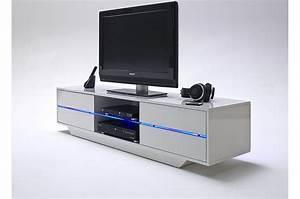 Meuble Tv Design Blanc Laqué : meuble tv design blanc laqu led bleu cbc meubles ~ Teatrodelosmanantiales.com Idées de Décoration