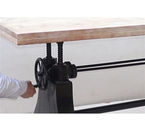 canapé en teck table de repas industrielle bois relevable manivelle 7024