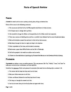 parts of speech review with practice sentences by monicac tpt