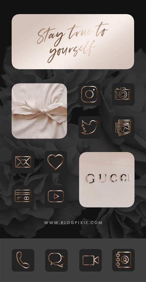 black and gold app icons