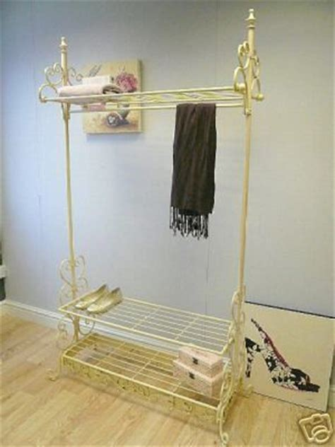 shabby chic hanging rail vintage chic clothes rail cream french hanging wardrobe ebay