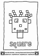 Coloring Square Shapes Preschool Shape Worksheets Activities Learning Squares Printable Funnycrafts Blocks Getcoloringpages sketch template