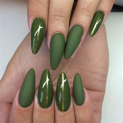 Dark Olive Green Acrylic Nails