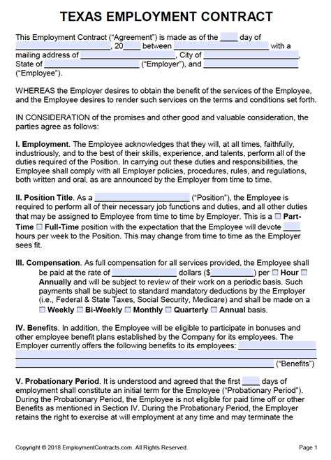 texas employment contract template  word