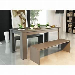 finlandek table laquee milano 2 bancs gris achat With salle À manger contemporaineavec table salle a manger avec banc