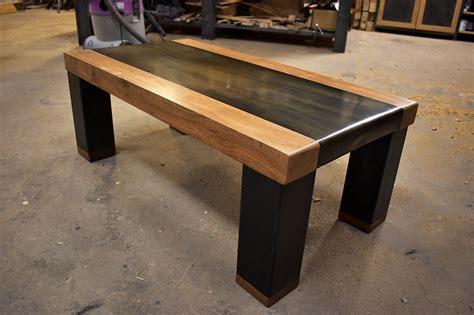 table basse bois et acier pli 233 le copeau et l 233 tincelle