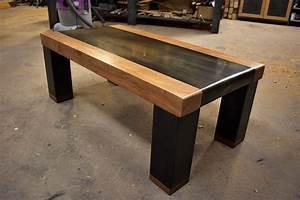 Table Basse En Acier : table basse bois et acier pli le copeau et l 39 tincelle ~ Melissatoandfro.com Idées de Décoration