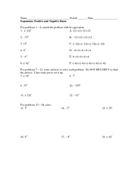 positive and negative exponents worksheet free worksheets