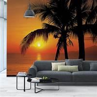 beach wall murals Komar 100 in. x 145 in. Palmy Beach Sunrise Wall Mural-8 ...
