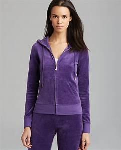 Couture Hoodie J Bling Velour In Dark Violet Purple