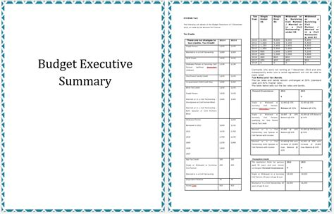 executive summary template  annual budget planning