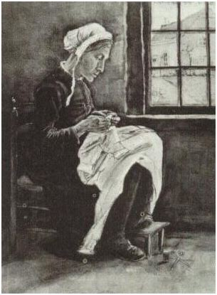 woman sewing  vincent van gogh  watercolor