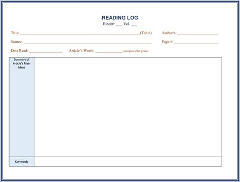 Reading Log With Summary Template by 8 Reading Log Templates To Keep Your Reading Logs